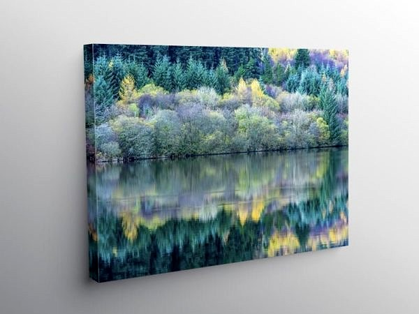 Llwyn Onn Reservoir Reflections Brecon Beacons National Park, Canvas Print