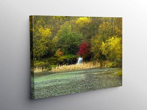 Clydach Vale Upper Pond in Autumn, Canvas Print
