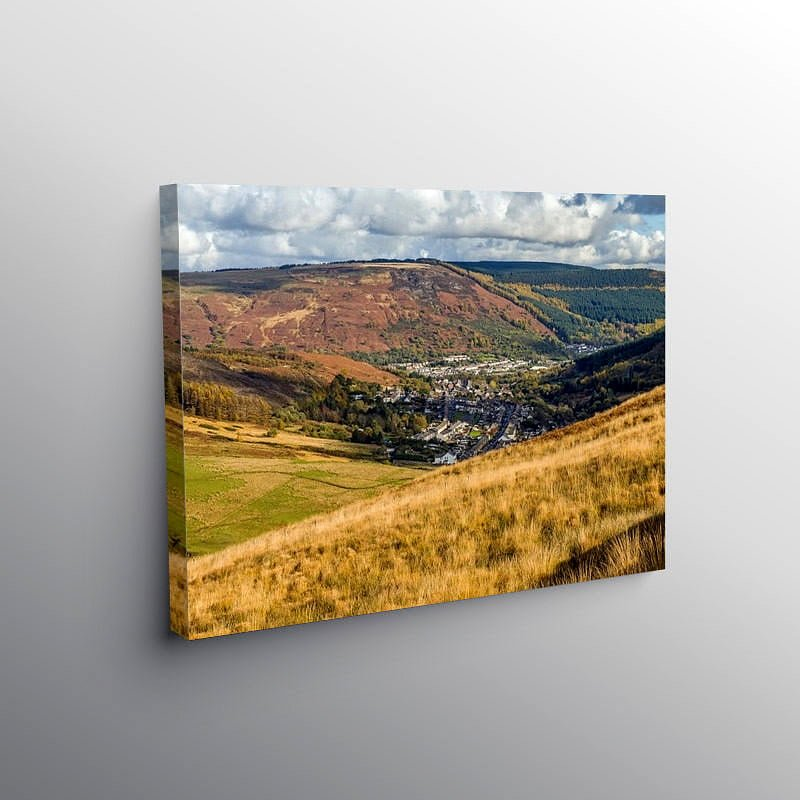 Cwmparc and Treorchy From the Bwlch, Canvas Print