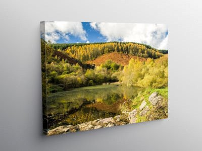 The Upper Pond at Clydach Vale Rhondda in Autumn, Canvas Print