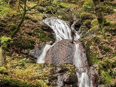 The Nant Gwyllt Waterfall in the Claerwen Valley