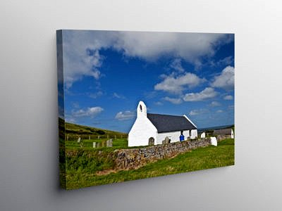 Church of the Holy Cross Mwnt, Canvas Print