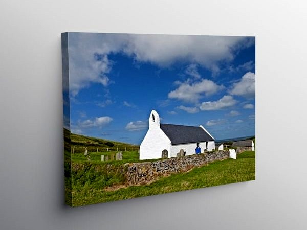 Church of the Holy Cross Mwnt Ceredigion, Canvas Print