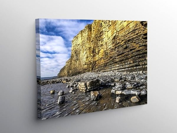 Llantwit Major Beach Sunlit Cliffs, Canvas Print