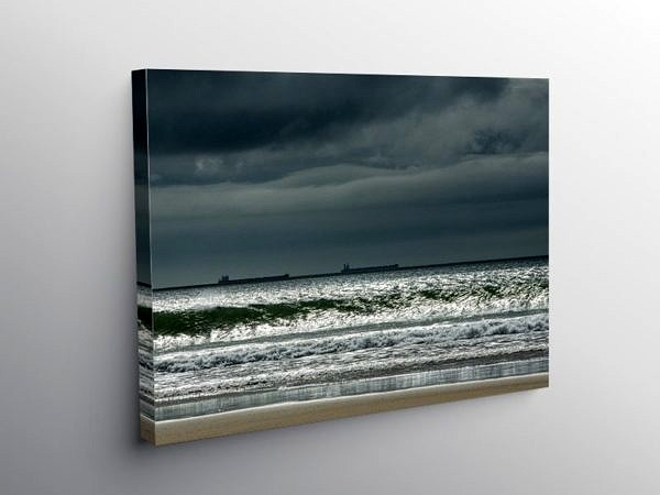 Oil Tankers anchored off Gower from Pobbles Bay, Canvas Print