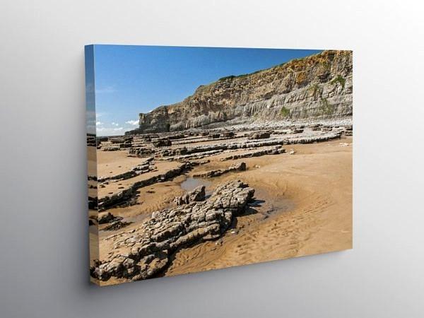 Nash Point Beach looking to Monknash, Canvas Print