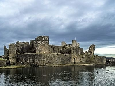 Caerphilly Castle under a Brooding Sky