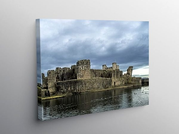 Caerphilly Castle under a Brooding Sky, Canvas Print
