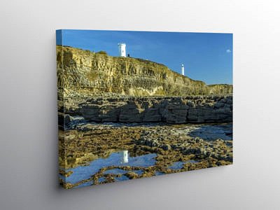 Two Lighthouses at Nash Point South Wales, Canvas Print