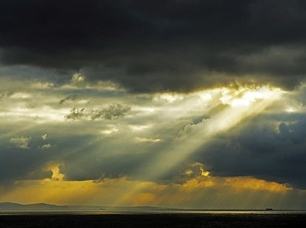 Sunbeams hitting the Bristol Channel