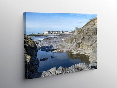 Porthcawl Seafront across a Rock Pool, Canvas Print