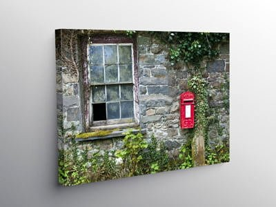 Old Building and Red Letterbox on the roadside Cilycwm, Canvas Print