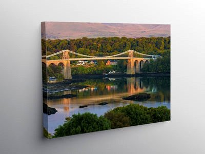 Sunset on the Menai Bridge, Canvas Print