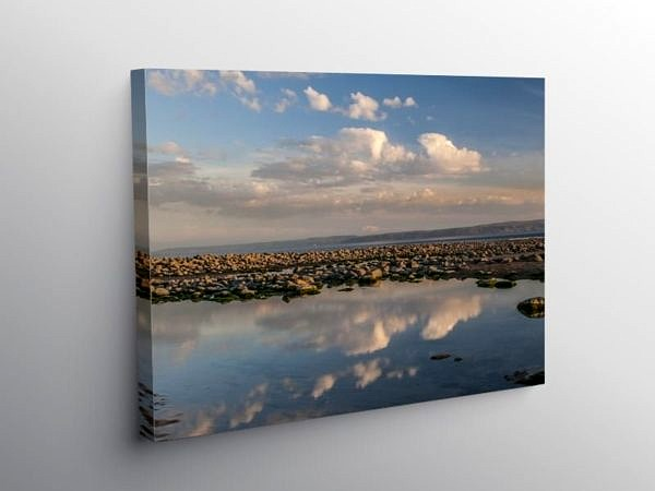 Pool Reflections Colhugh Beach Llantwit Major, Canvas Print