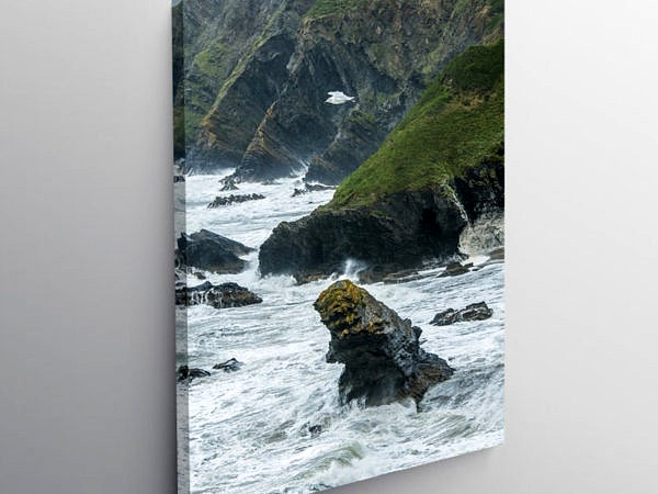 Llangrannog Beach in Stormy Weather Ceredigion, Canvas Print