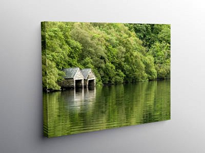 Stone Boat sheds on Llyn Dinas Snowdonia, Canvas Print