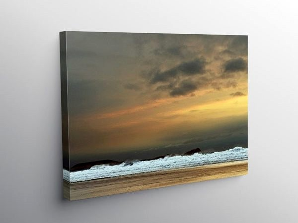 Rhossili Beach on a blustery March evening, Canvas Print