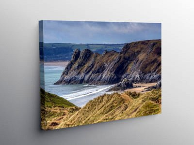 Great Tor overlooking Three Cliffs Bay Gower, Canvas Print