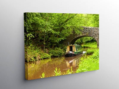 Narrowboat on the Monmouthshire and Brecon Canal, Canvas Print