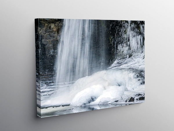 Sgwyd Gwladys in Winter Snow and Ice, Canvas Print