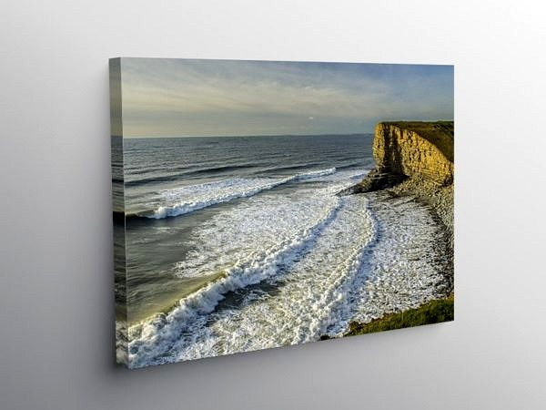 Waves at Nash Point Beach Glamorgan Heritage Coast, Canvas Print