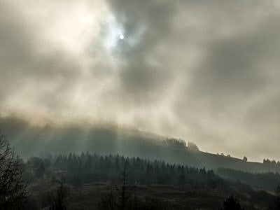 Low Clouds and Sun Rays above Blaencwm