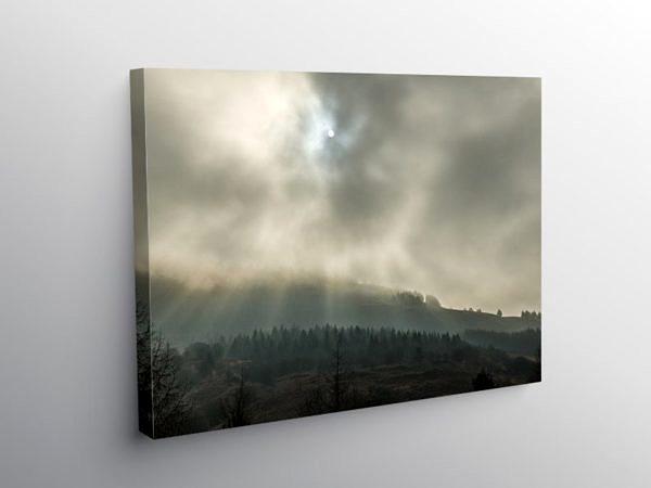 Low Clouds and Sun Rays above Blaencwm Rhondda, Canvas Print