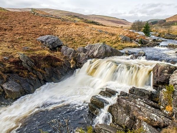 Waterfall in the Claerwen Valley Radnorshire Powys