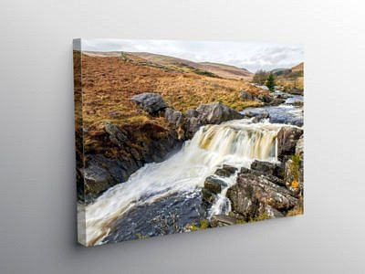 Waterfall in the Claerwen Valley Radnorshire Powys, Canvas Print