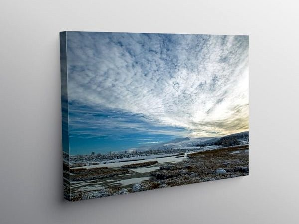Pen y Fan and Corn Du under a BIG winter sky, Canvas Print