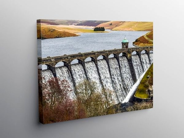Craig Goch Dam in the Elan Valley Powys, Canvas Print