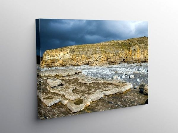Llantwit Major Cliffs and Dark Clouds, Canvas Print