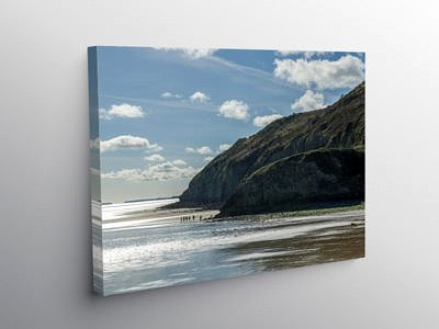Into the sun at Llansteffan Beach Carmarthenshire, Canvas Print