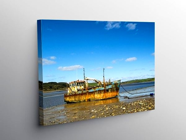 The Vicky Leigh Fishing Boat Moored Up at Ferryside, Canvas Print