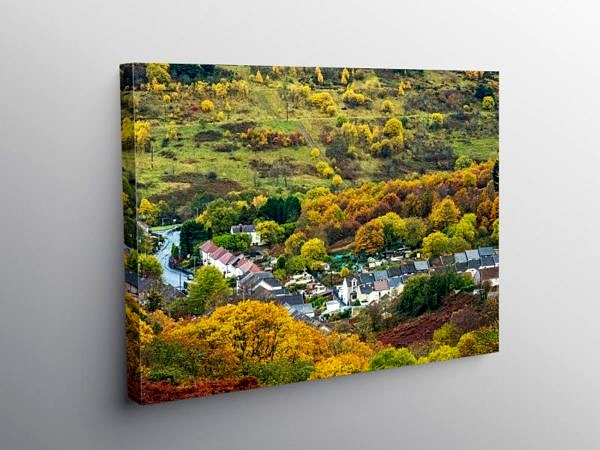 Looking Down on Blaenrhondda Autumn, Canvas Print