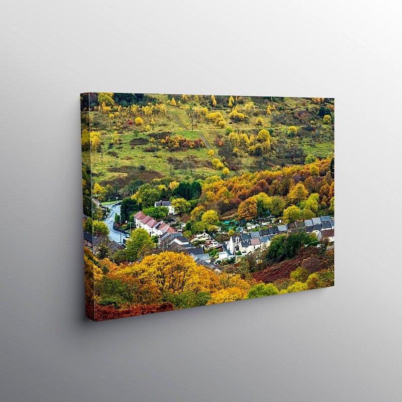 Looking Down on Blaenrhondda Autumn, Canvas Print