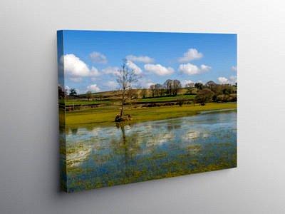 Brechfa Pool near Llyswen Powys, Canvas Print