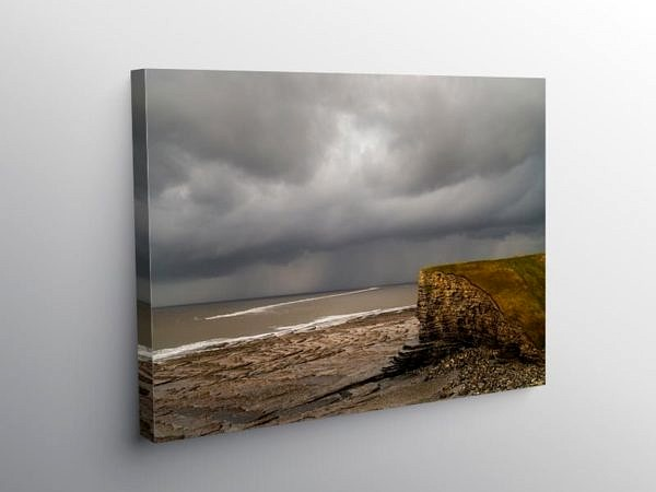 Beach at Nash Point and Sandbar Glamorgan Coast, Canvas Print