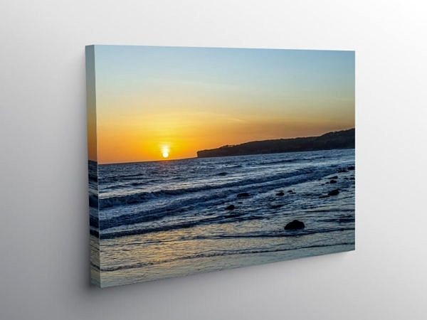 Sunset Llantwit Major Beach Glamorgan Heritage Coast, Canvas Print