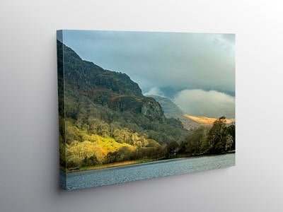 Llyn Gwynant and Mountains Snowdonia in November, Canvas Print
