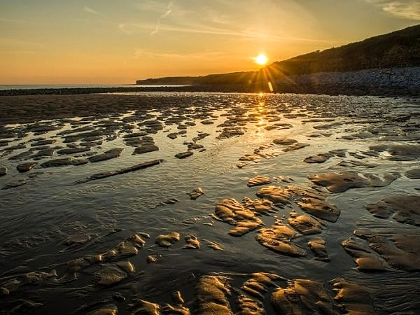 Sunset and Golden Sand Llantwit Major Beach