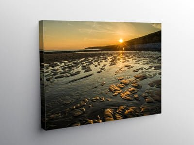 Sunset and Golden Sand Llantwit Major Beach, Canvas Print