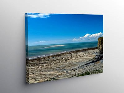 Nash Point Beach and the Sandbank, Canvas Print