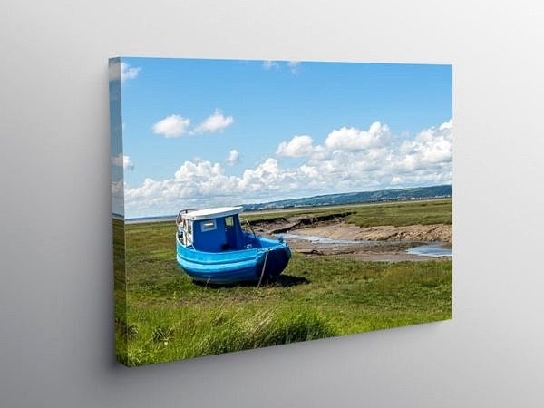 The Lougher Estuary and Blue Boat Gower, Canvas Print