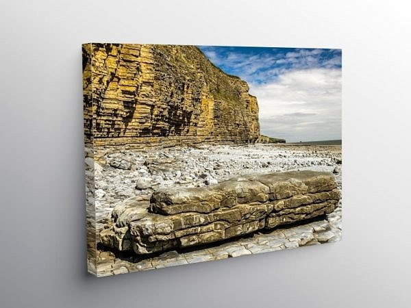 Llantwit Major Beach and Cliffs, Canvas Print