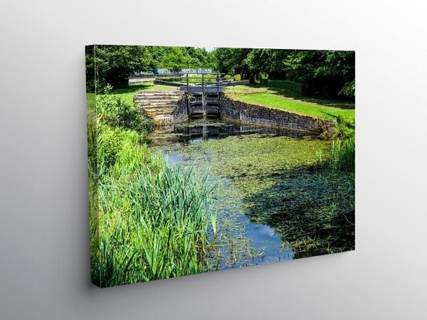 Lock Gate on the Neath and Tennant Canal, Canvas Print