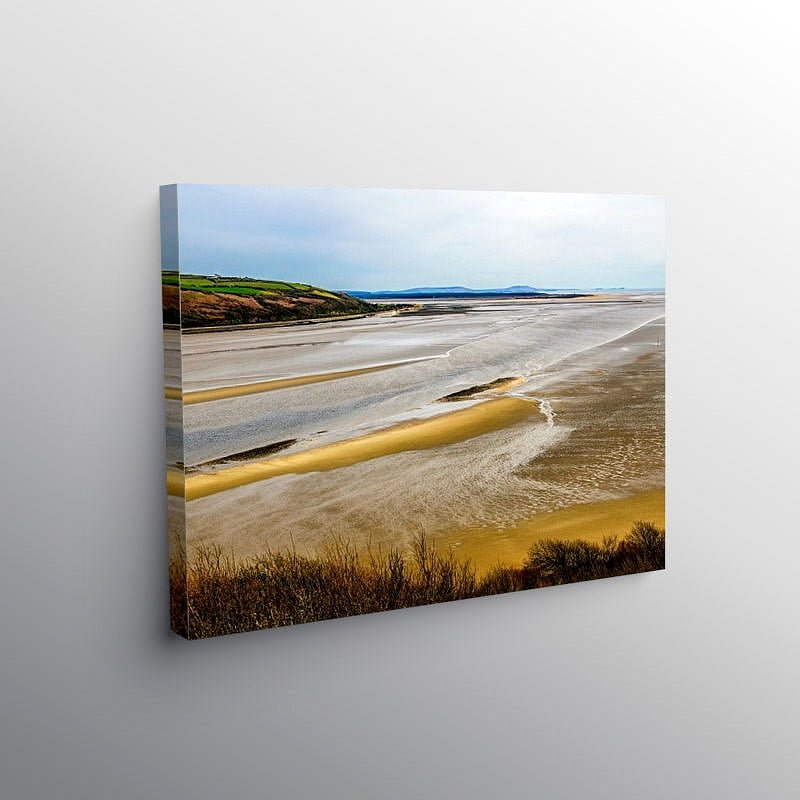 Tywi Estuary and Cefn Sidan Sands Carmarthenshire, Canvas Print