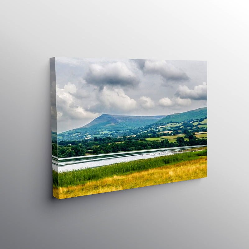 Mynydd Troed and Llangorse Lake Brecon Beacons, Canvas Print