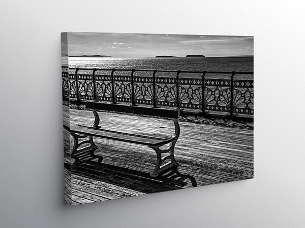 Bench on Penarth Pier, Canvas Print