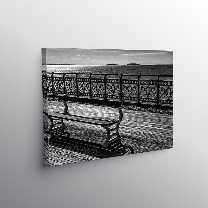 Bench on Penarth Pier South Wales Monochrome, Canvas Print